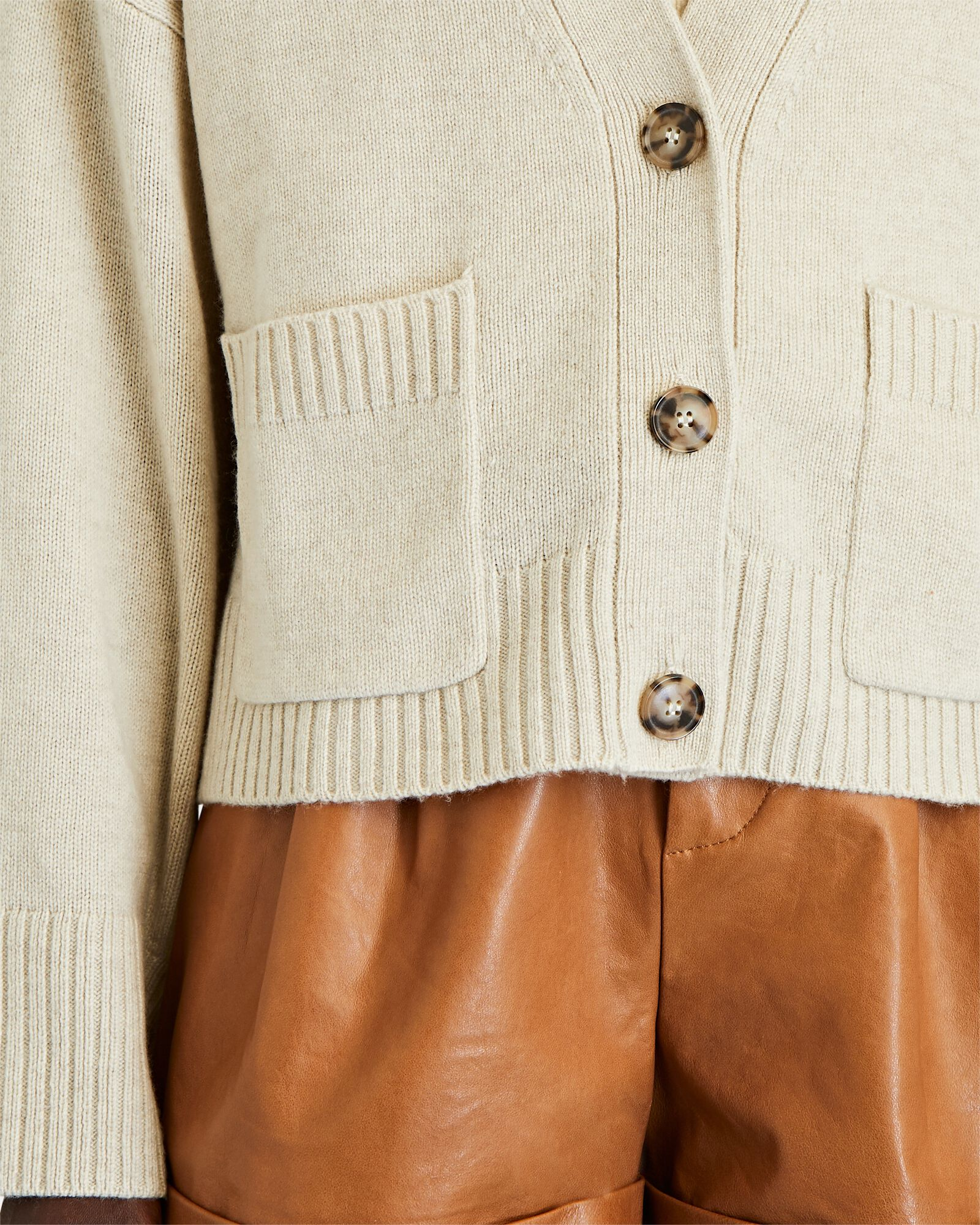 Luxe Wool-Cashmere Cardigan, BEIGE, hi-res
