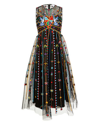 Embellished Midi Dress, BLACK, hi-res