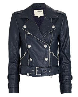 Billie Double-Breasted Leather Jacket, NAVY, hi-res