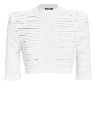Ribbed Knit Crop Top, WHITE, hi-res