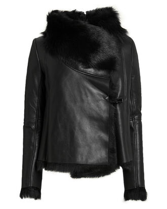 Black Shearling Jacket, BLACK, hi-res