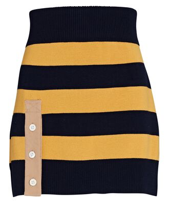 Striped Rugby Knit Mini Skirt, YELLOW, hi-res