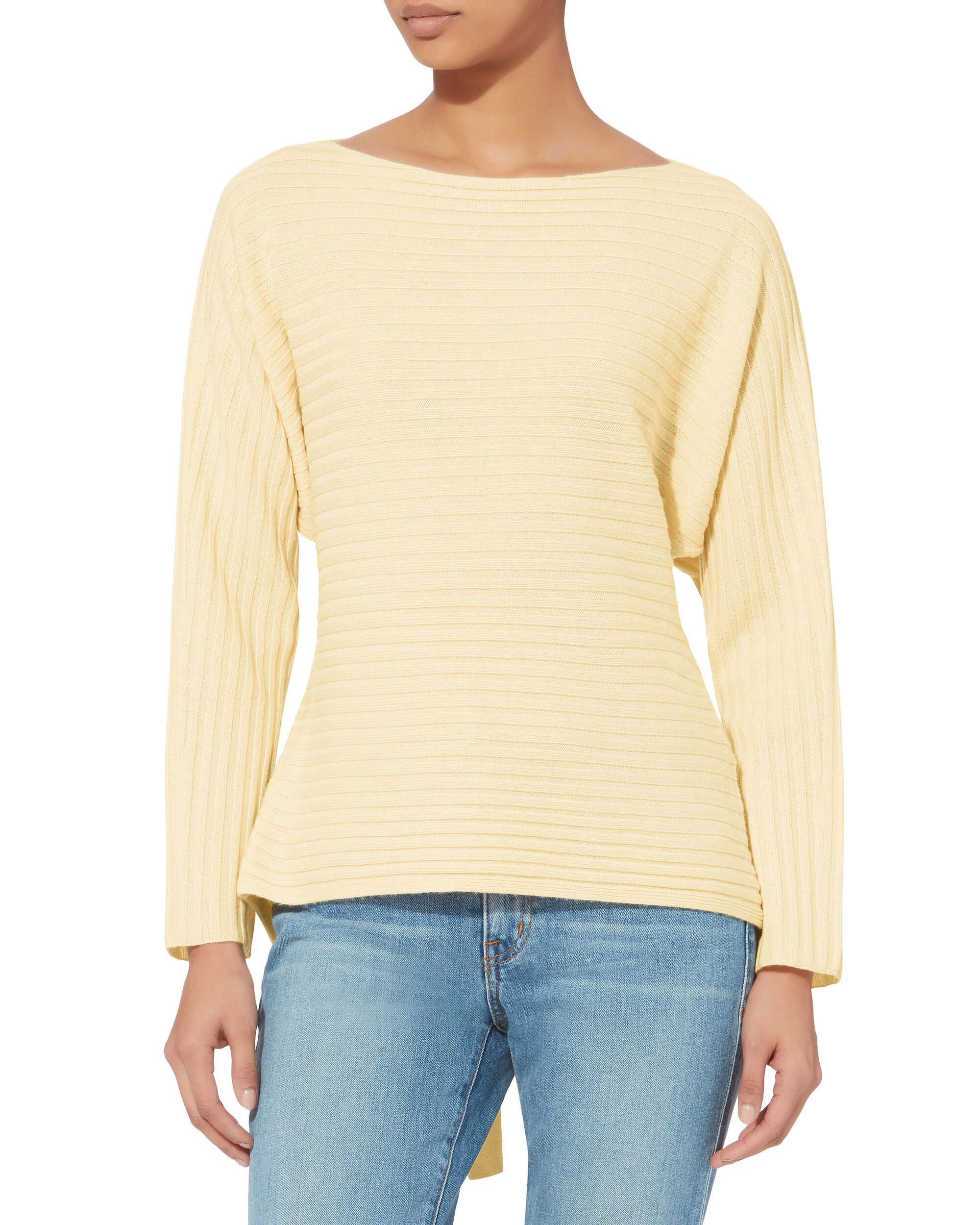 Dolman Tie Back Sweater, YELLOW, hi-res