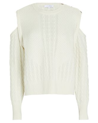 Terry Cold-Shoulder Sweater, IVORY, hi-res
