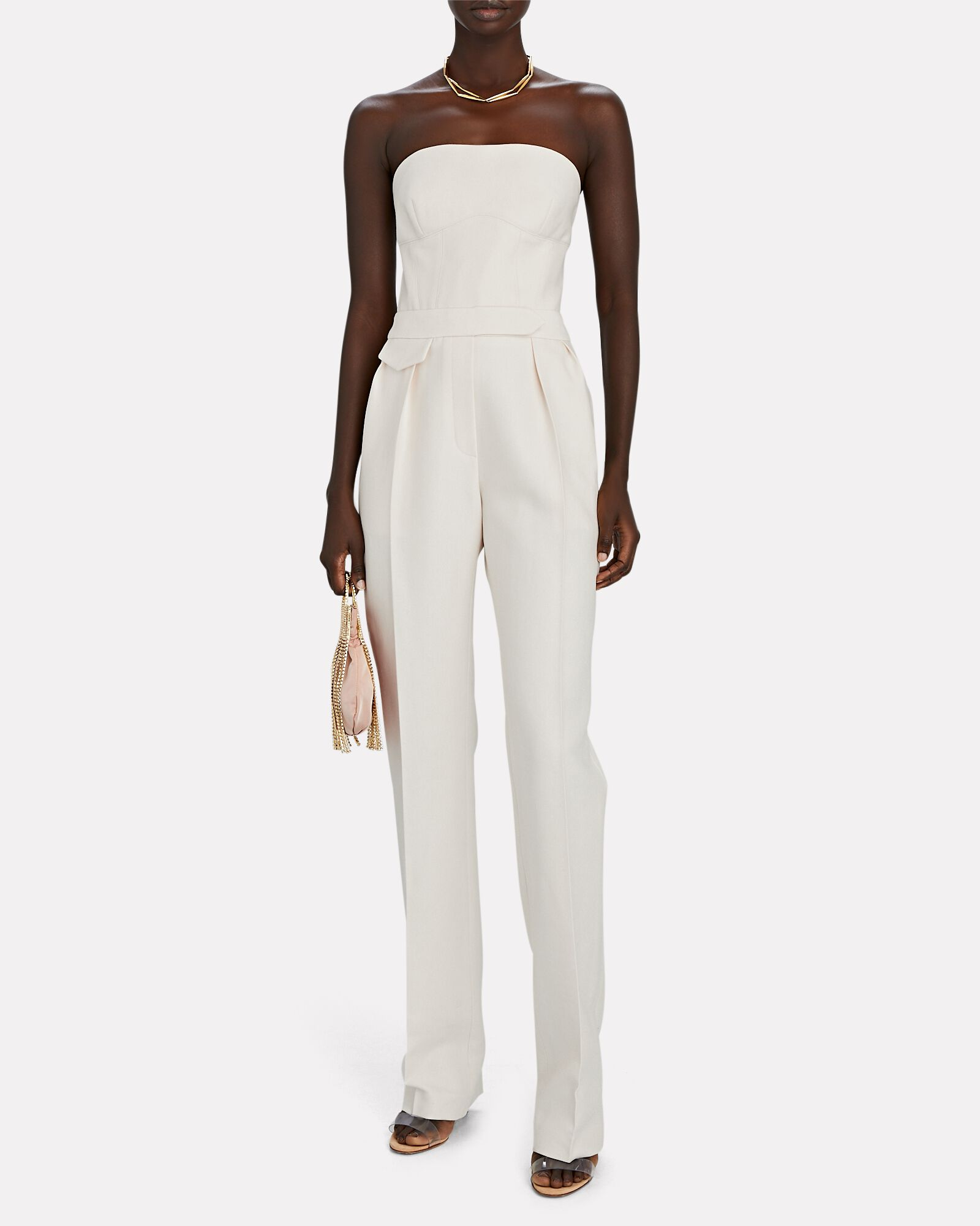 Strapless Silk-Wool Twill Jumpsuit, IVORY, hi-res