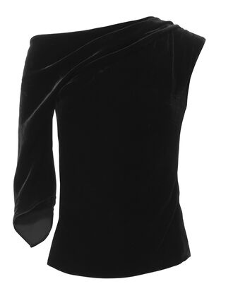 Draped One Shoulder Velvet Top, BLACK 2, hi-res