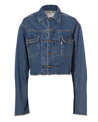 Berty Angel Patch Cropped Denim Jacket, DENIM-LT, hi-res