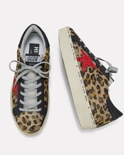 Hi Star Leopard Haircalf Low-Top Sneakers, BROWN, hi-res