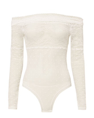 White Sailor Off Shoulder Bodysuit, WHITE, hi-res