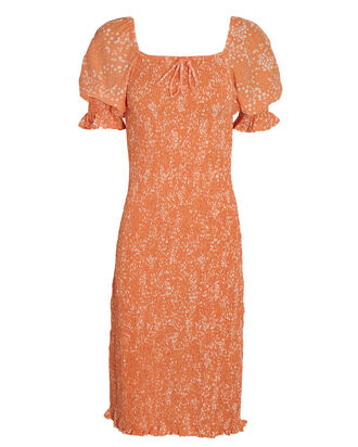 Fae Puff Sleeve Midi Dress, ORANGE, hi-res