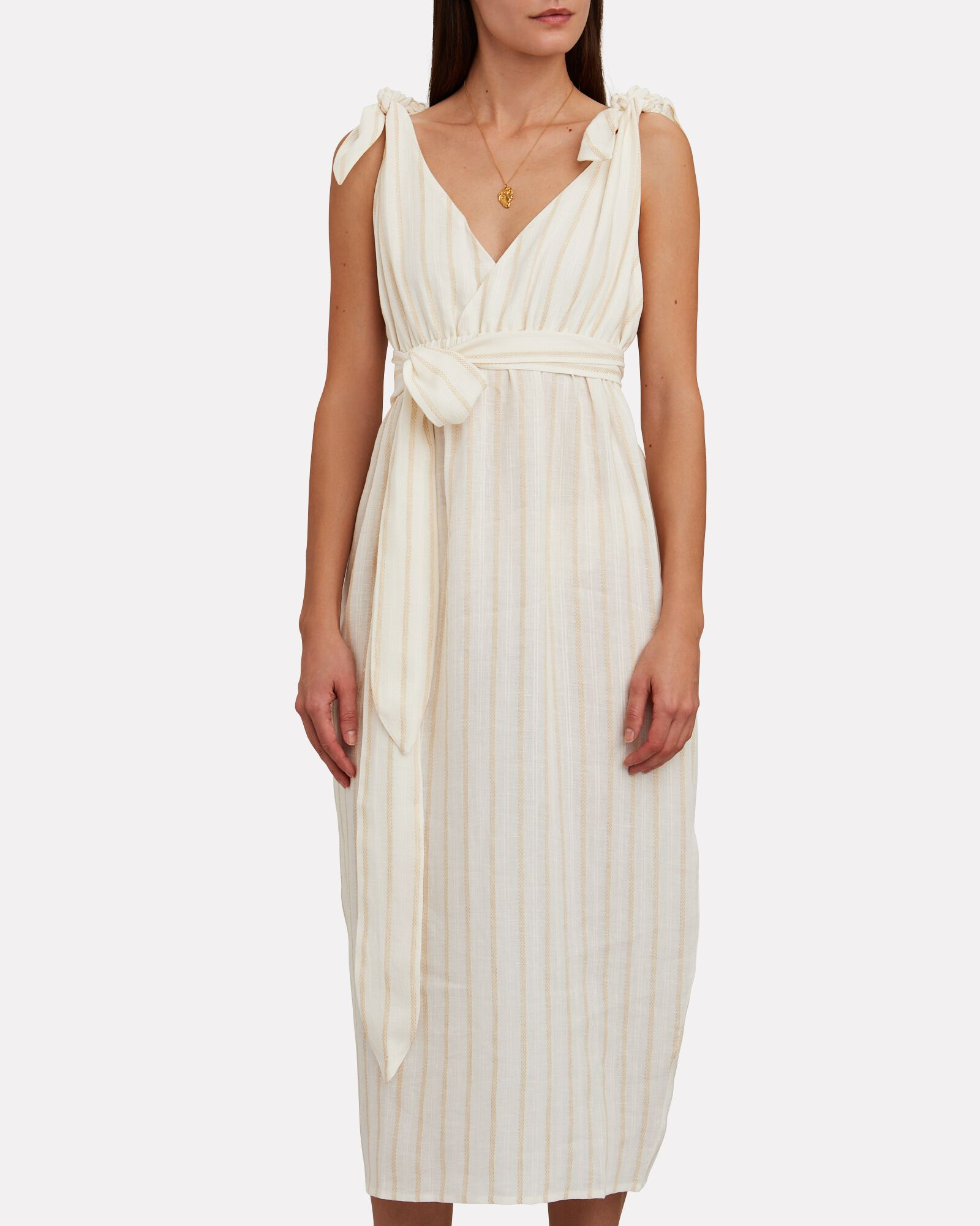 Calypso Twisted Stripe Midi Dress, WHITE/BEIGE, hi-res