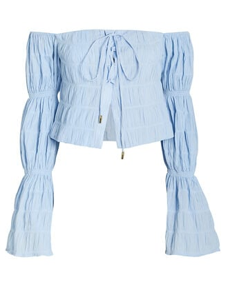 Claire Cotton Off-the-Shoulder Blouse, BLUE-LT, hi-res