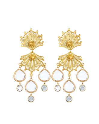 Double Shell Drop Earrings, GOLD, hi-res