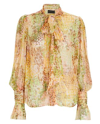 Tie-Neck Spotted Silk Chiffon Blouse, BLUSH/GREEN, hi-res