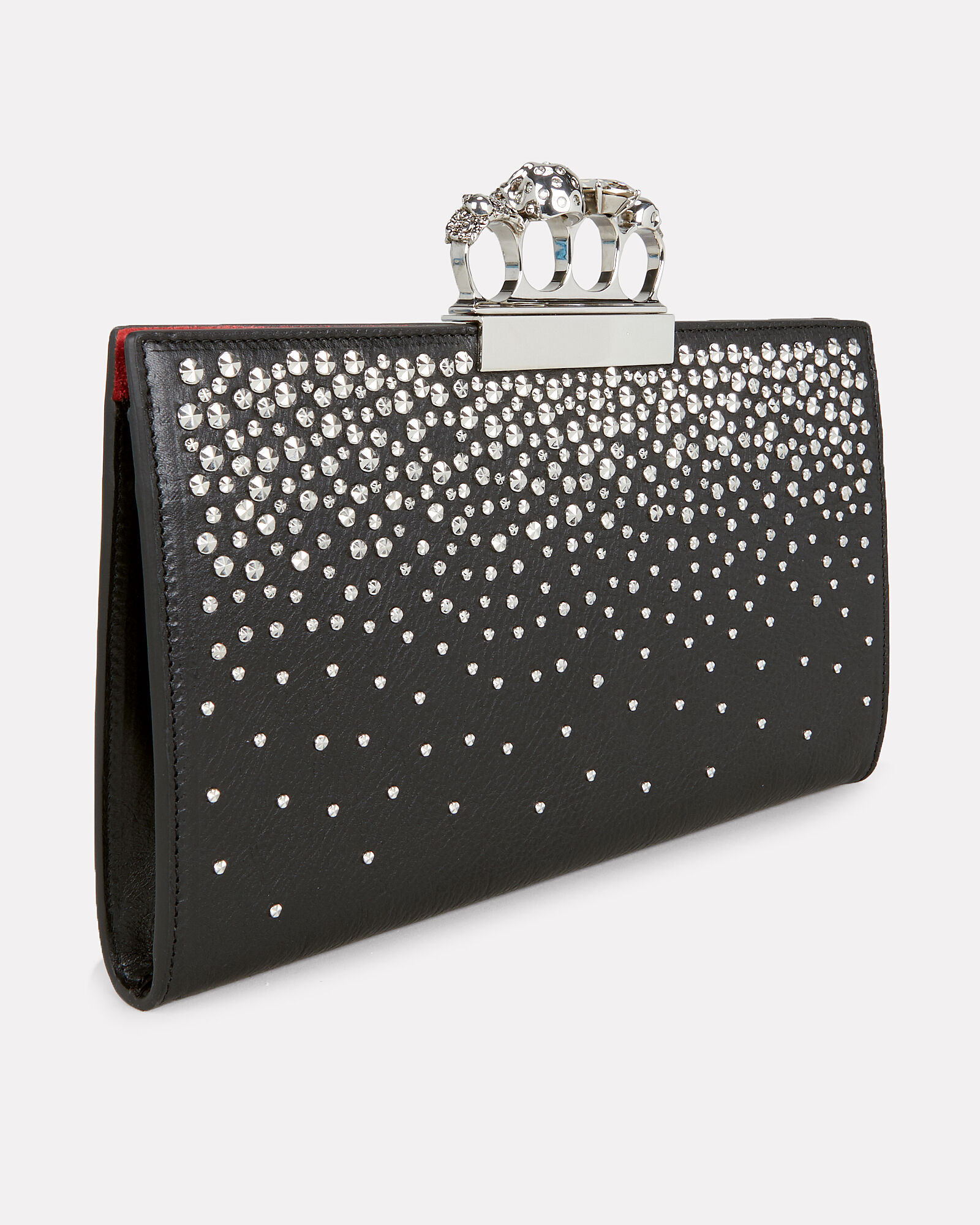 Skull Four Ring Studded Leather Clutch, BLACK, hi-res