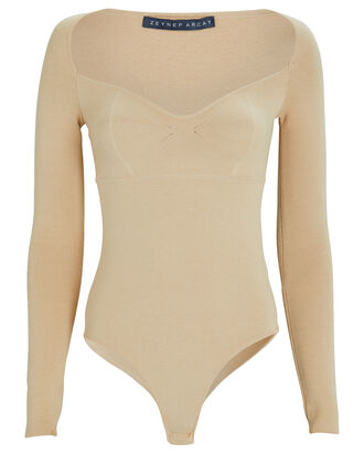 Princess Knit Bodysuit, BEIGE, hi-res
