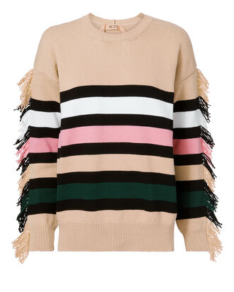 Fringe Striped Sweater, STRIPE, hi-res
