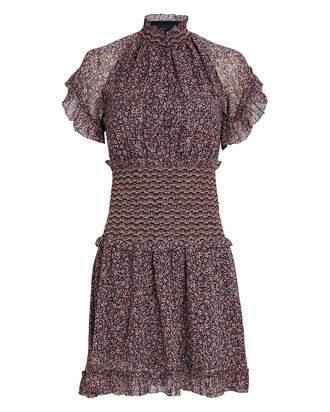 Serena Smocked Floral Chiffon Dress, MULTI, hi-res