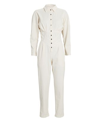 Flower Cotton Twill Jumpsuit, IVORY, hi-res