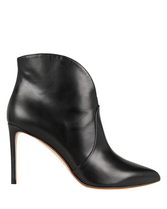 Pointed Toe Black Booties, BLACK, hi-res