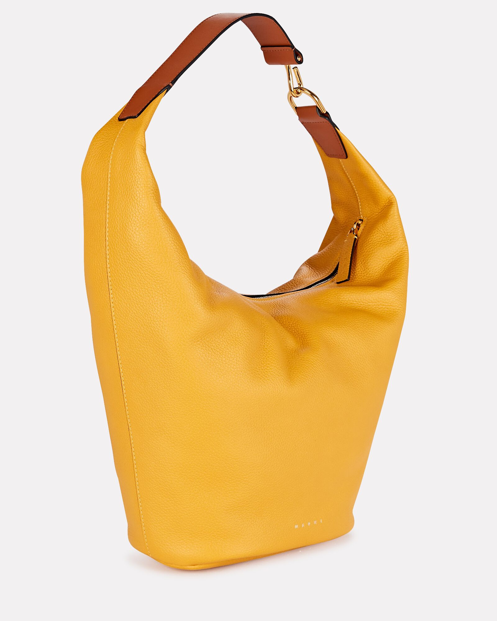 Pierce Slouchy Leather Bag, YELLOW, hi-res