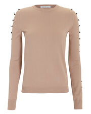 Camel Button Sleeve Sweater, BROWN, hi-res
