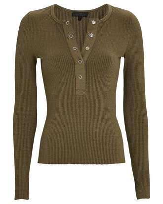 Rib Knit Henley Top, OLIVE/ARMY, hi-res