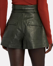 Othello Tie-Waist Leather Shorts, GREEN, hi-res
