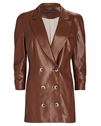 Leather Double-Breasted Blazer, BROWN, hi-res