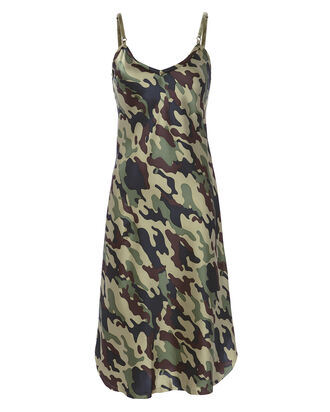 Camoflauge Satin Slip Dress, PRINT, hi-res