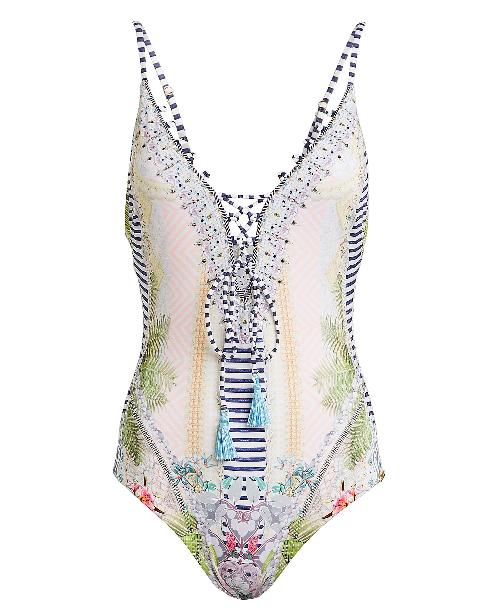 Lace-Up One-Piece Swimsuit, WHITE/FLORAL, hi-res