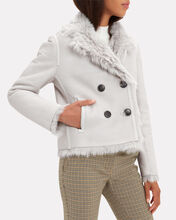 Reversible Double-Breasted Grey Shearling Coat, LIGHT GREY, hi-res