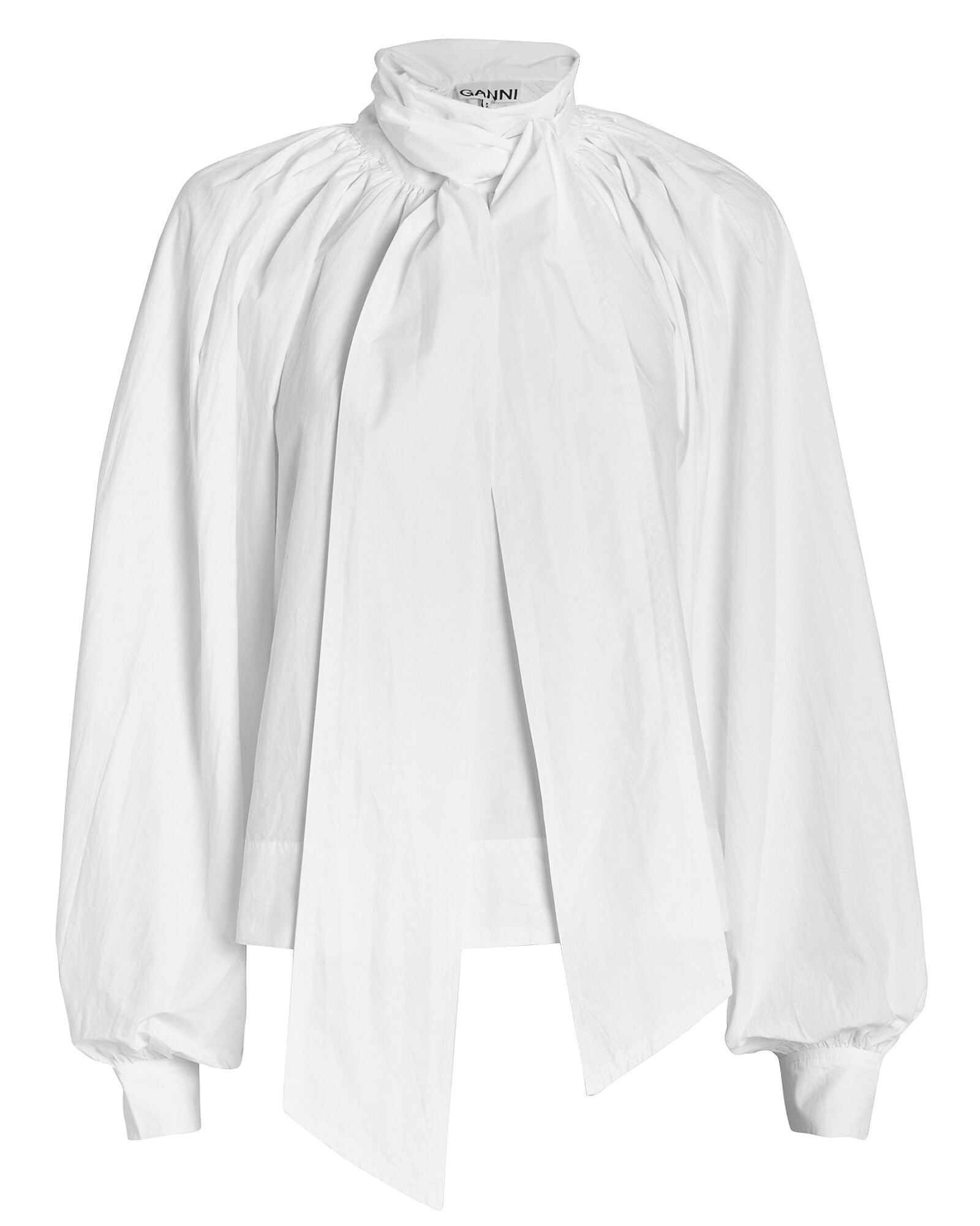 Cotton Poplin Tie Neck Blouse, WHITE, hi-res