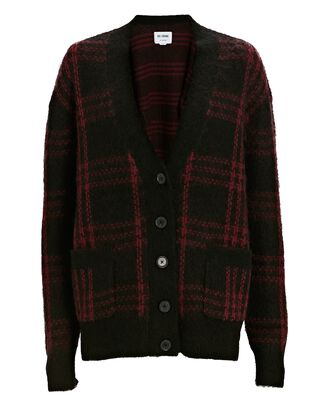 90s Oversized Plaid Cardigan, BLACK/RED, hi-res