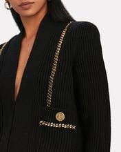 Collarless Chain-Trimmed Cardigan, BLACK, hi-res