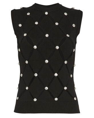 Crystal-Embellished Cut-Out Knit Top, BLACK, hi-res
