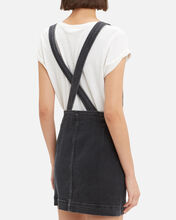 Overall Denim Mini Dress, BLACK, hi-res
