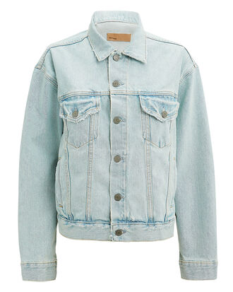 Kim Distressed Denim Jacket, LIGHT BLUE DENIM, hi-res