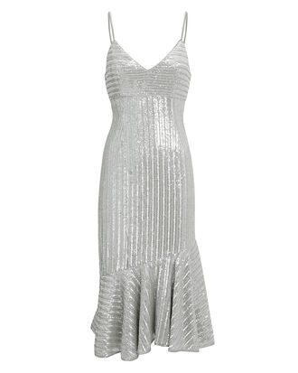Peggie Sequin Dress, SILVER, hi-res