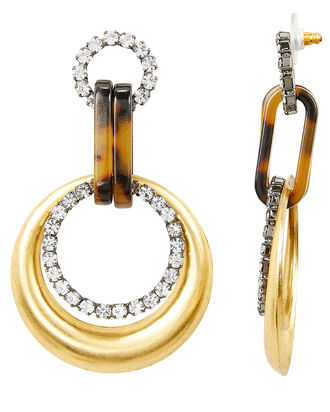 Mila Circle Drop Earrings, CLEAR, hi-res