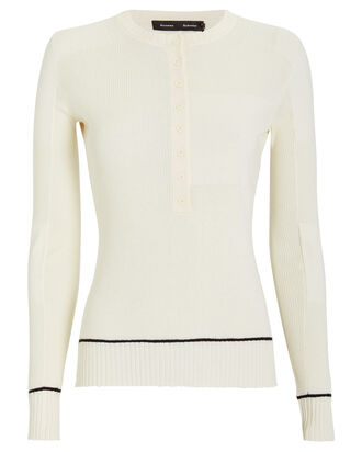 Silk & Cashmere Knit Henley Top, WHITE, hi-res