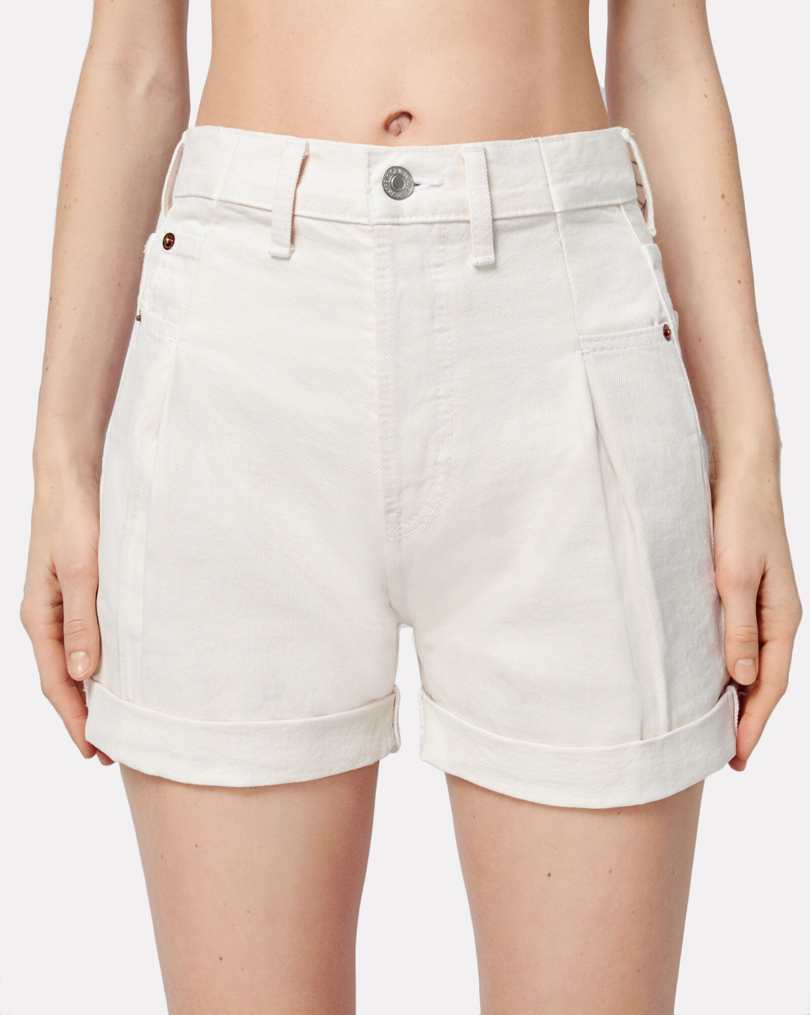 40s Zoot Denim Shorts, WHITE, hi-res