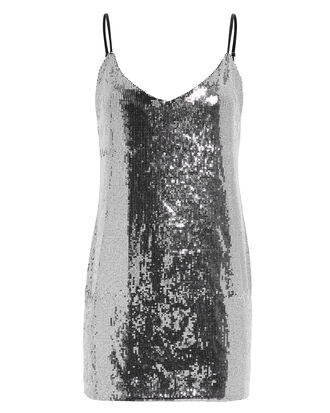 Bijou Sequin Silver Slip Dress, SILVER, hi-res
