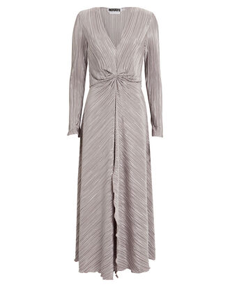 No. 7 Raindrops Gathered Plissé Dress, SILVER, hi-res