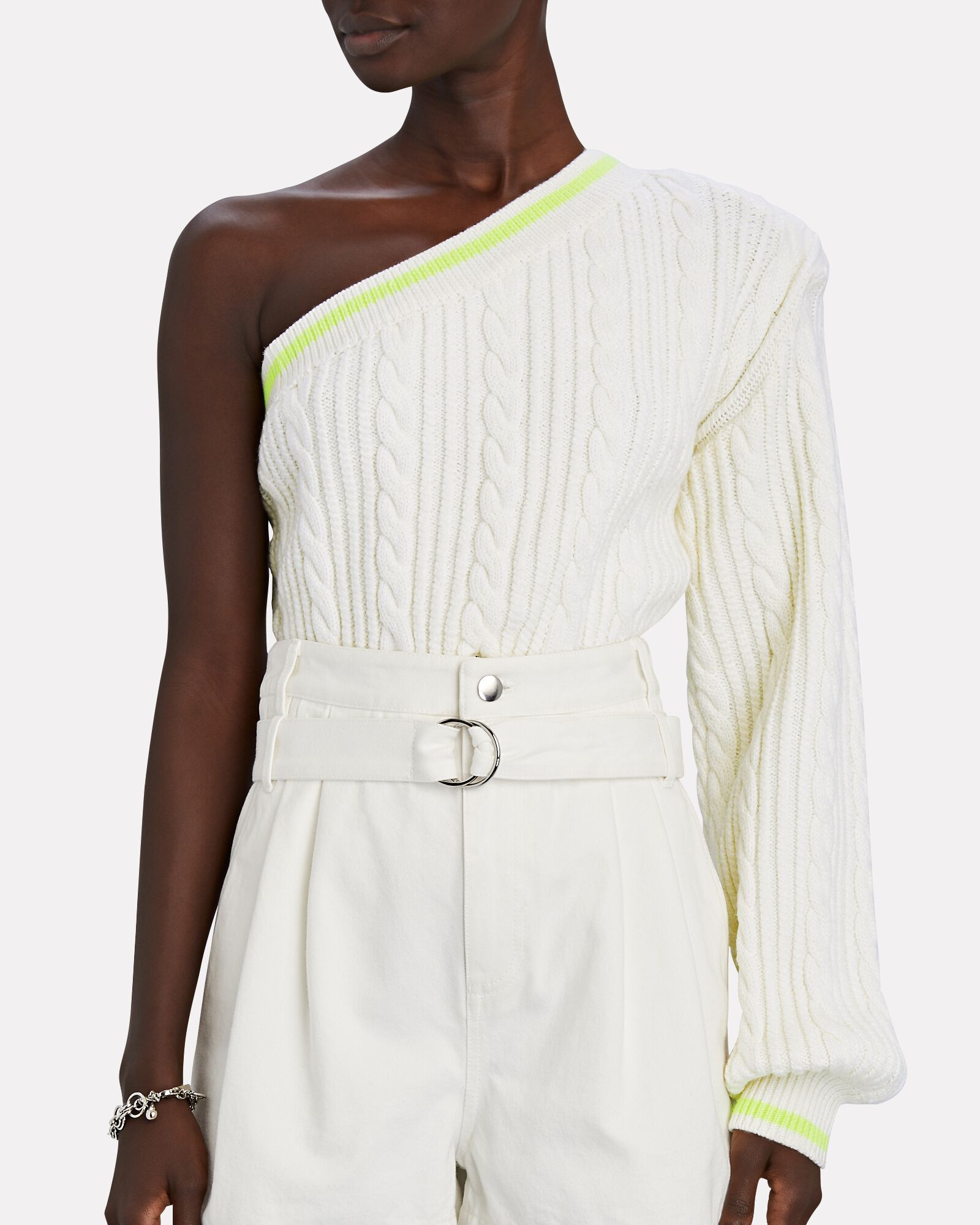 One-Shoulder Cable Knit Sweater, IVORY, hi-res