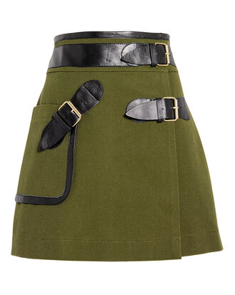 Army Wrap Mini Skirt, ARMY GREEN, hi-res