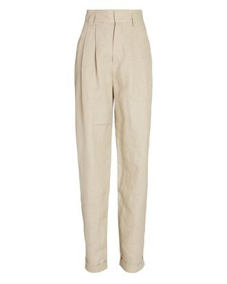 Ginevra Pleated Linen Pants, IVORY, hi-res