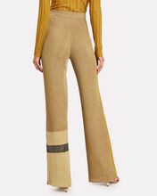 Two Tone Flare Knit Pants, MUSTARD, hi-res