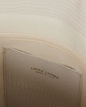 Twisted Lizard-Embossed Leather Tote, WHITE, hi-res