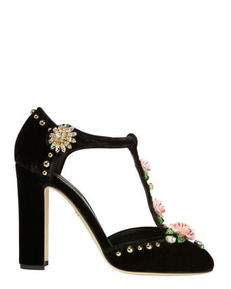 Mary Jane Floral-Embellished Velvet Pumps, BLACK, hi-res